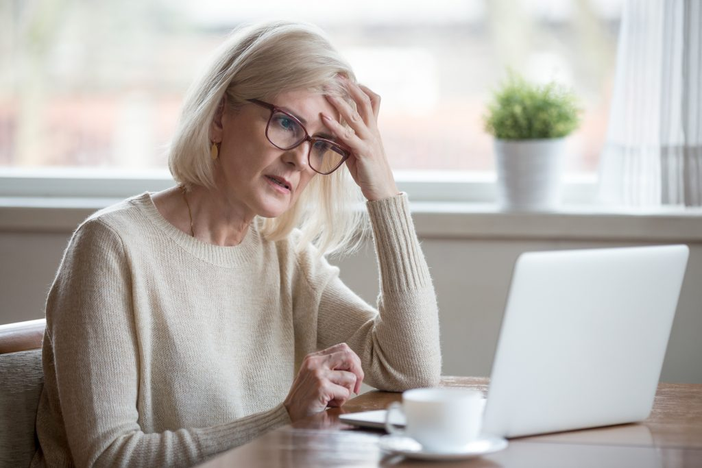 woman concerned about her defined benefit pension security